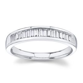 14k White Gold Diamond Wedding Band 3/8 ct. tw.