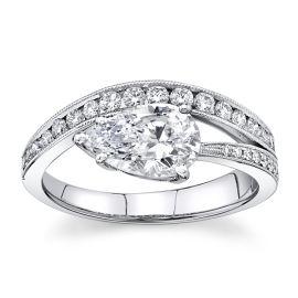 Simon G. 18Kt White Gold Diamond Engagement Ring Setting 1/3 cttw