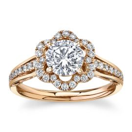 RB Signature 14Kt Rose Gold Diamond Engagement Ring Setting 1/3 cttw