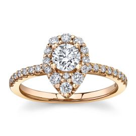 Utwo 14Kt Rose Gold Diamond Engagement Ring 7/8 cttw