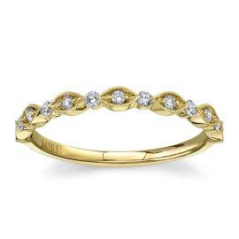 Henri Daussi 14k Yellow Gold Diamond Wedding Band 1/5 ct. tw.
