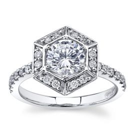RB Signature 14Kt White Gold Diamond Engagement Ring Setting 1/3 cttw