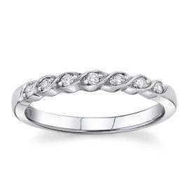 14Kt White Gold Diamond Wedding Band 1/10 cttw