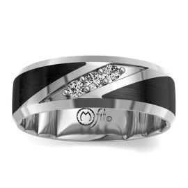 MFit Black Ceramic Carbide and 14Kt White Gold Diamond Wedding Band 1/5 cttw