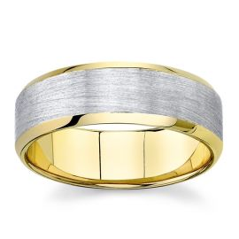 Novell 14k Yellow Gold and 14k White 7 mm Wedding Band ct. tw.