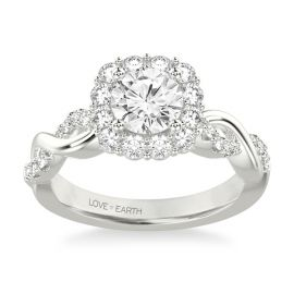 Love Earth 14Kt White Gold Diamond Engagement Ring Setting 1/2 ct. tw