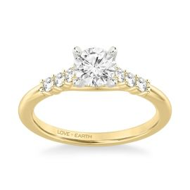 Love Earth 14Kt Yellow Gold and 14Kt White Diamond Engagement Ring Setting 1/5 ct. tw
