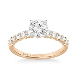 Love Earth 14Kt Rose and 14Kt White Gold Diamond Engagement Ring Setting 3/8 ct. tw