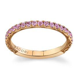 Tacori 18Kt Rose Gold Pink Sapphire Diamond Wedding Band
