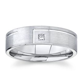 Gravure 14Kt White Gold 6 mm Diamond Wedding Band .04 cttw