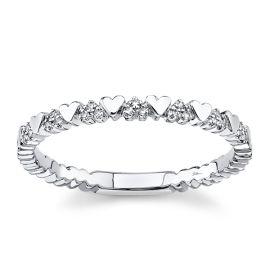 Shy Creation 14k White Gold Diamond Wedding Band .04 ct. tw.