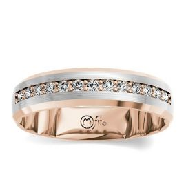 MFit 14Kt Rose and 14Kt White Gold Diamond Wedding Band 1/3 cttw