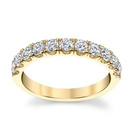 Suns and Roses 14k Yellow Gold Diamond Wedding Band 3/4 ct. tw.