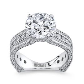 Michael M. 18k White Gold Diamond Engagement Ring Setting 1 1/3 cttw