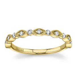 Henri Daussi 18Kt Yellow Gold Diamond Wedding Band 1/5 cttw