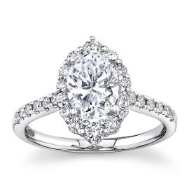 Suns and Roses 14k White Gold Diamond Engagement Ring Setting 1/2 ct. tw.
