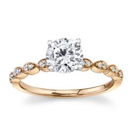RB Signature 14k Rose and 14k White Gold Diamond Engagement Ring Setting .08 ct. tw.