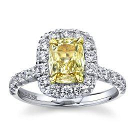 Henri Daussi 18k White Gold and 18k Yellow Gold Diamond Engagement Ring 1 3/4 ct. tw.