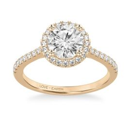 Love Earth 14Kt Rose Gold Diamond Engagement Ring Setting 1/3 ct. tw