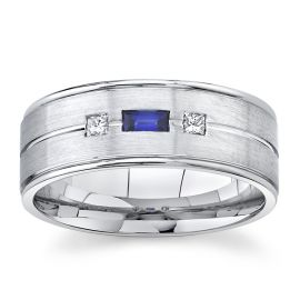 Gravure 14Kt White Gold 8 mm Blue Sapphire Diamond Wedding Band .08 cttw