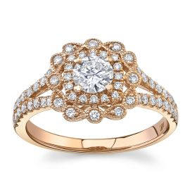 Utwo 14Kt Rose Gold Diamond Engagement Ring 3/4 cttw