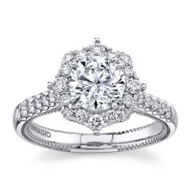 Verragio 14Kt White Gold Diamond Engagement Ring Setting 1/2 cttw