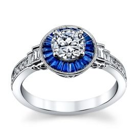 Simon G. 18K White Gold Diamond And Blue Sapphire Engagement Ring Setting 1/5 Cttw.