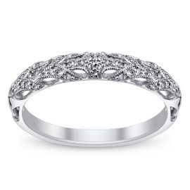 RB Signature 14k White Gold Diamond Wedding Band 1/5 ct. tw.