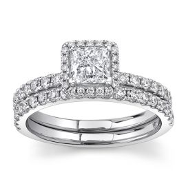 Utwo 14Kt White Gold Diamond Wedding Set 1 1/3 cttw
