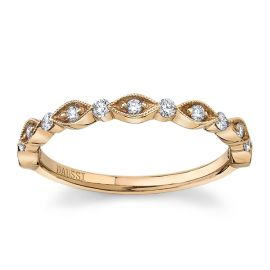 Henri Daussi 18Kt Rose Gold Diamond Wedding Band 1/5 cttw