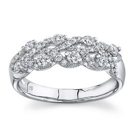 14Kt White Gold Diamond Wedding Band 1/2 cttw