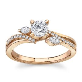 Utwo 14Kt Rose Gold Diamond Engagement Ring 5/8 cttw