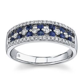 14Kt White Gold Blue Sapphire Diamond Wedding Band 1/3 cttw