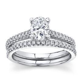 Poem 14k White Gold Diamond Wedding Set 1 ct. tw.