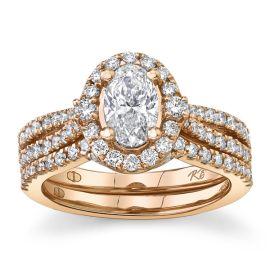Poem 14Kt Rose Gold Diamond Wedding Set 1 1/2 cttw