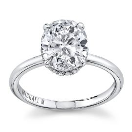 Michael M. 18k White Gold Diamond Engagement Ring Setting 1/10 cttw