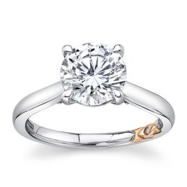 A. Jaffe 14Kt White Gold and 14Kt Rose Gold Diamond Engagement Ring Setting .08 cttw