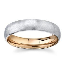 Platinum and 18Kt Rose Gold 5 mm Wedding Band