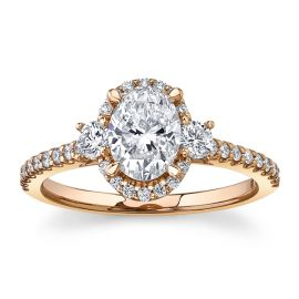 Poem 14Kt Rose Gold Diamond Engagement Ring 1 1/3 cttw