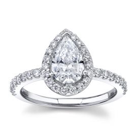 Suns and Roses 14k White Gold Diamond Engagement Ring Setting 3/8 ct. tw.