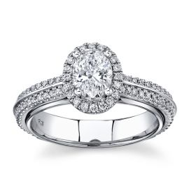 Eternalle Lab-Grown 14Kt White Gold Diamond Engagement Ring 1 cttw