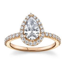 Suns and Roses 14k Rose Gold Diamond Engagement Ring Setting 3/8 ct. tw.