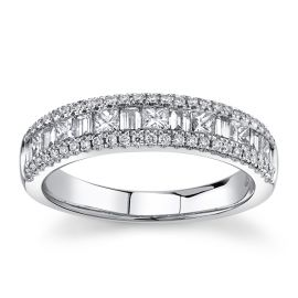 14Kt White Gold Diamond Wedding Ring 3/4 cttw