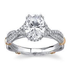Verragio 14Kt White Gold & 14Kt Rose Gold Diamond Engagement Ring Setting 1/4 cttw