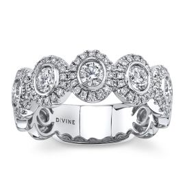 Divine 18k White Gold Diamond Wedding Band 3/4 ct. tw.