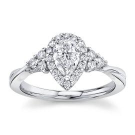 Poem 14Kt White Gold Diamond Engagement Ring 7/8 cttw