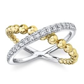 Gabriel & Co. 14k White Gold and 14k Yellow Gold Diamond Wedding Band 3/8 ct. tw.