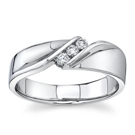 14Kt White Gold 3.5mm with 3 Round Channel Set Diamond Wedding Band 1/6 cttw