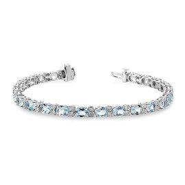 14k White Gold Aquamarine Bracelet 1/3 ct. tw.