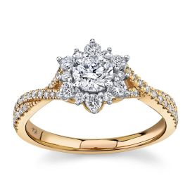 Utwo 14k Rose and 14k White Gold Diamond Engagement Ring 3/4 ct. tw.